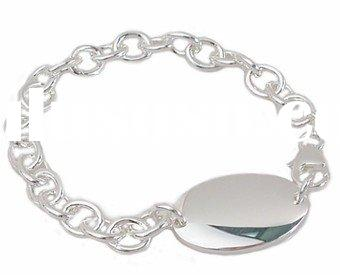 Engravable Link ID Bracelet in Sterling Silver for Men or Women