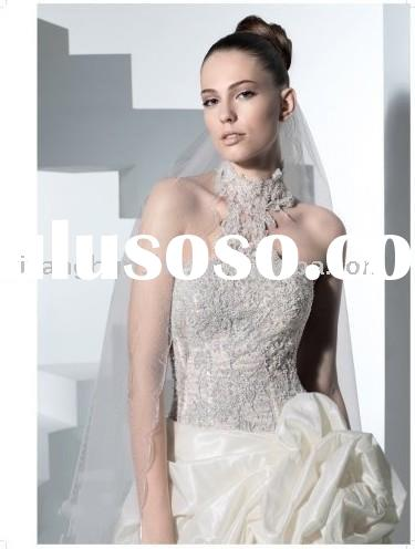 European style exquisite shiny beade high neck ball gown Wedding Dress