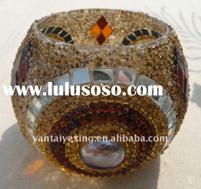 Exotic glass mosaic votive candle holder in beads decoration