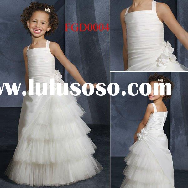 FGD0004 Beautiful Layered Taffeta and Tulle Flower Girl Dress 2012