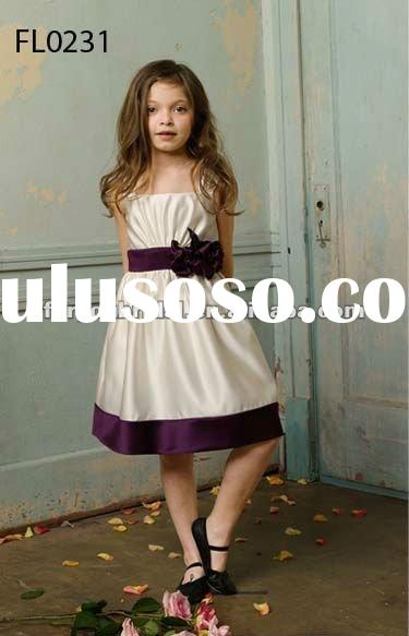 FL0231 Satin Wide Straps Short Flower Girl Dress 2012