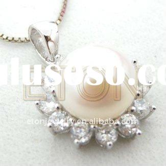 Factory artisan crafted wholesale sterling fashion design White CZ rhodium plating 925 silver pearl