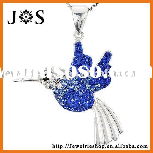 Fashion 925 Sterling Silver Bird Shape Crystal Pave Bead Pendant Charm