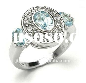 Fashion 925 Sterling Silver Ring Swiss Blue Topaz CZ Ring