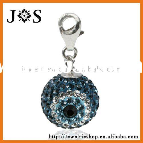 Fashion 925 Sterling Silver Turkish Evil Eye Crystal Pave Bead Pendant