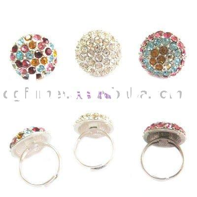 Fashion CZ crystal alloy jewellery finger rings (RG0446)