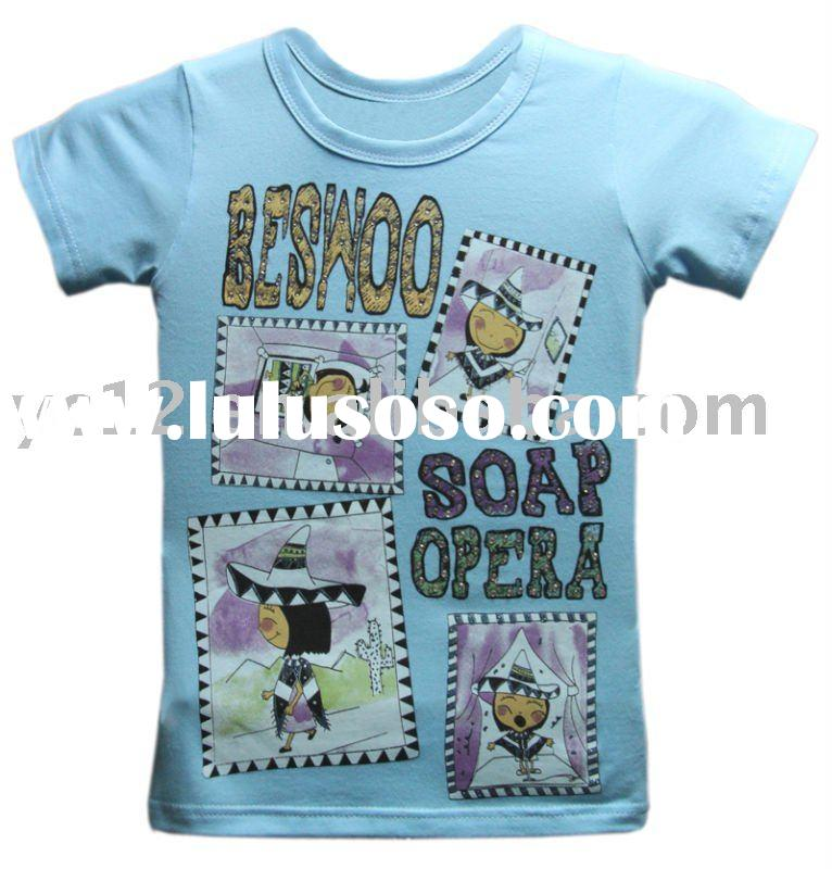 Fashion Print Short Sleeve O-neck Girls T shirts
