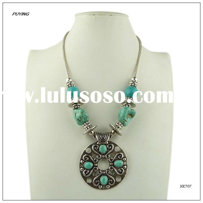 Fashion Turkish Antique Silver Alloy Turquoise Lady Necklace, Wholesale Fashion Turkish Jewelry