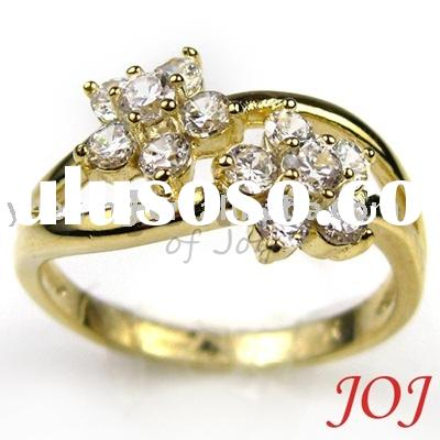 Fashion Zircon Flower Ring 24K Gold Ring Fashion Jewelry