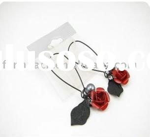 Fashion costume jewelry Gothic bloody rose black leaf earrings