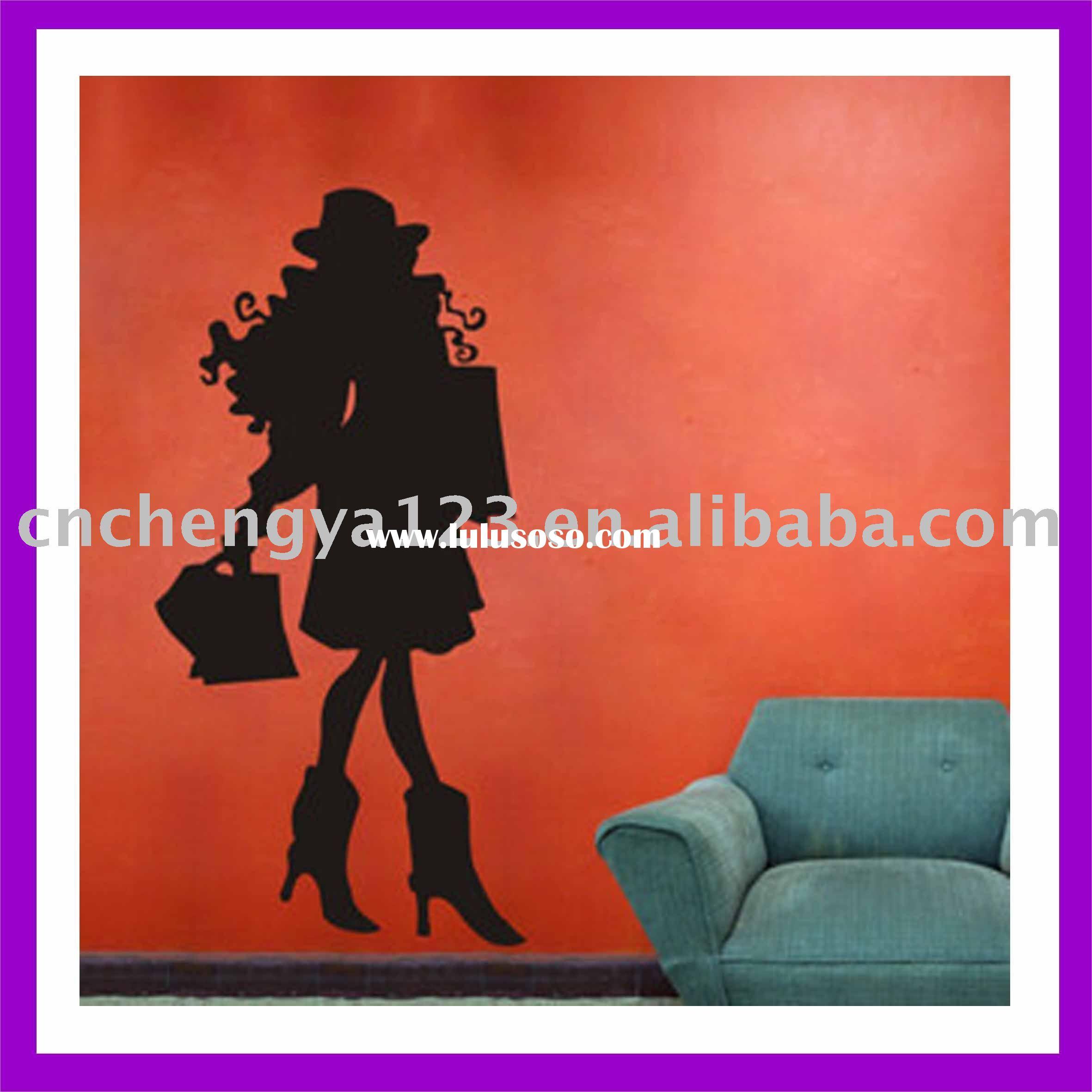 Fashion girl pvc wall art sticker/kids bedroom wall sticker