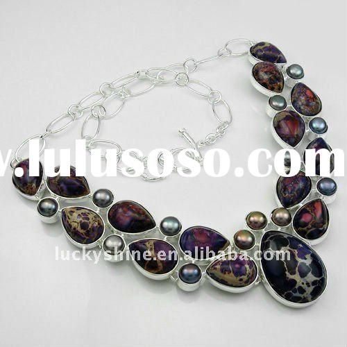 Fashion jewelry 925 silver imperial taper gemstone jewelry necklace