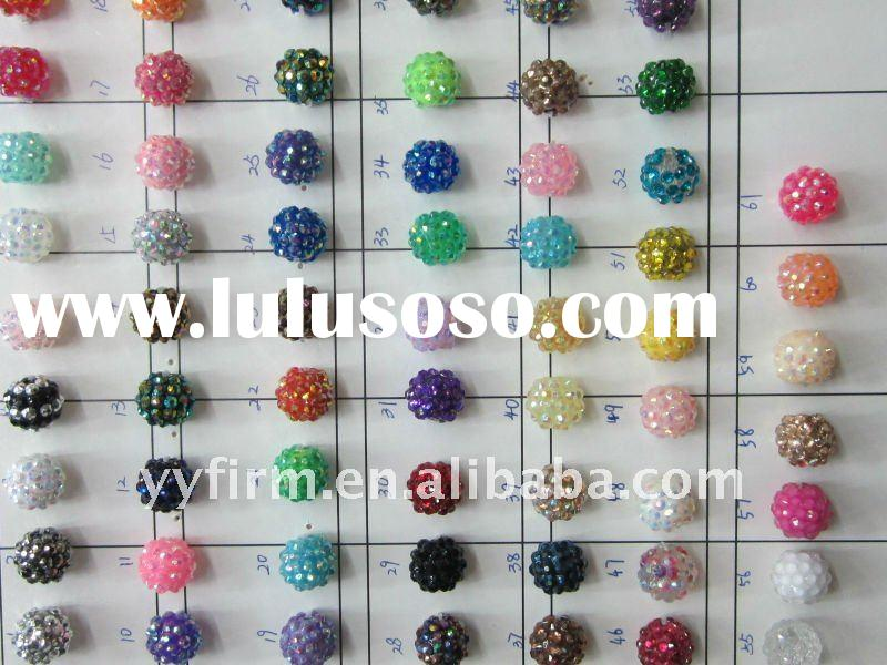 Fashion jewelry crystal resin rhinestone ball beads!! Shamballa pave disco beads!! 2011 Fashion styl