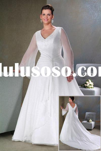 Fashion long sleeve sweet heart neck plus size wedding dress WB--Z1041