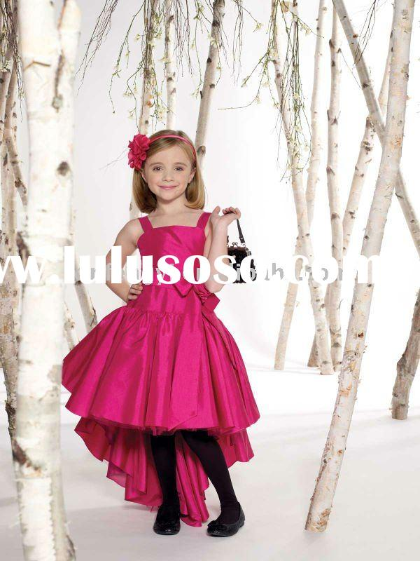 Fashion taffeta Hi-lo little kids party dresses for girls with straps