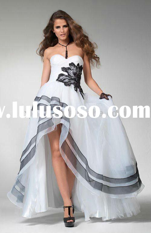 Fashional Strapless Appliqued Black & White Short Front Long Back Prom Dress--PD2001