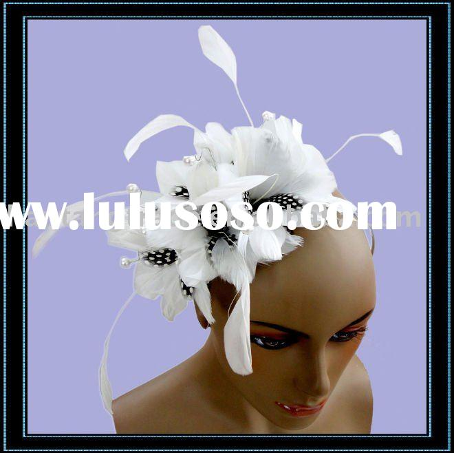 Feather Hair Accessories For Wedding White