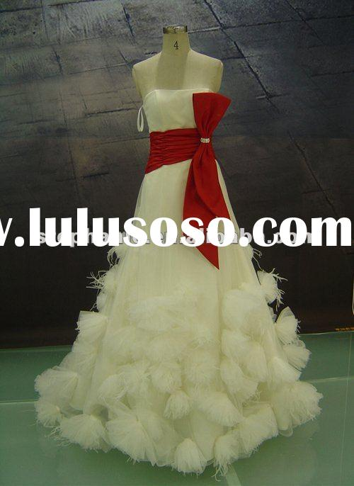 Feather red and white wedding dresses