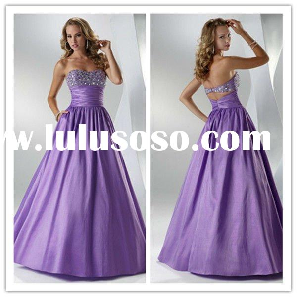 For Women Strapless A-line Prom Dresses Sash Taffeta Beaded Ruffled Sweep Dresses New Fashion 2011
