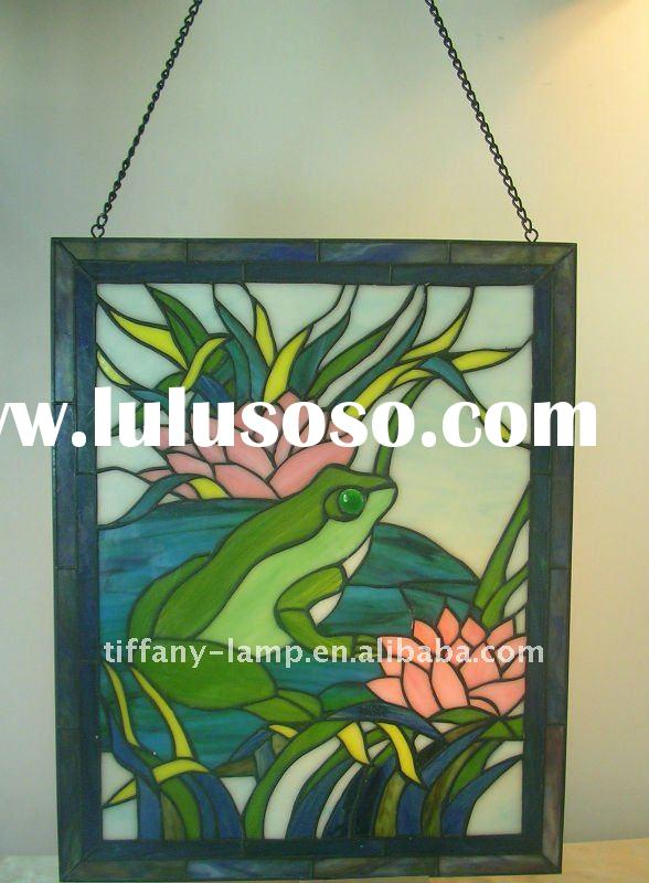 Frog sitting on lotus leaf glass wall decorative panels