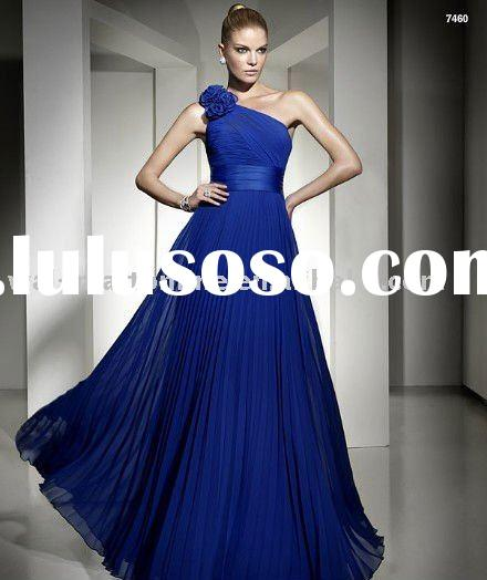 GW249 Fashion Style Blue Chiffon One Shoulder Evening Dress for Weddings