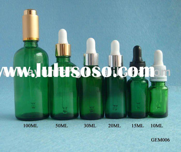 Green Essential Oil Bottles, Green Bottle with dropper