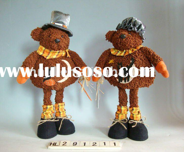 Halloween plush teddy bear toys wearing hat & with cat or crow figure