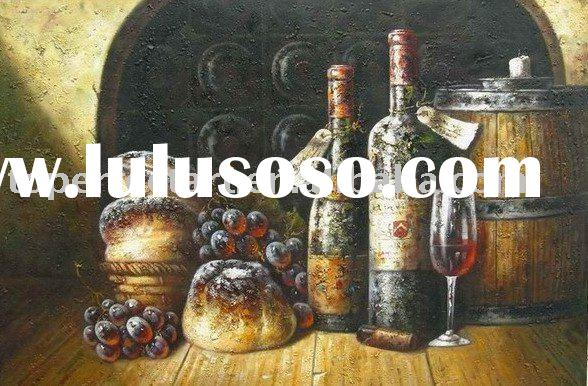 Handmade wine bottle still life oil painting, Best decor for home, cafe, restaurant
