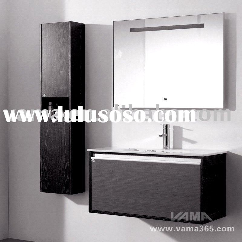High quality Light mirror solid wood cabinets/modern bathroom furniture vanity cabinet/wooden vanity