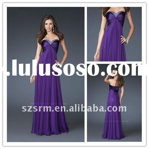 Hot Elegant Strapless Sweetheart Long Beaded Formal Evening Dresses 2012