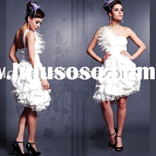 Hot sell bridesmaid dress party dress short white one shoulder feathers backless ruffle Ball Gown si