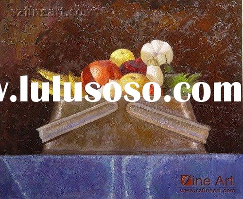 Impressionist knife still life oil painting of fruits on canvas
