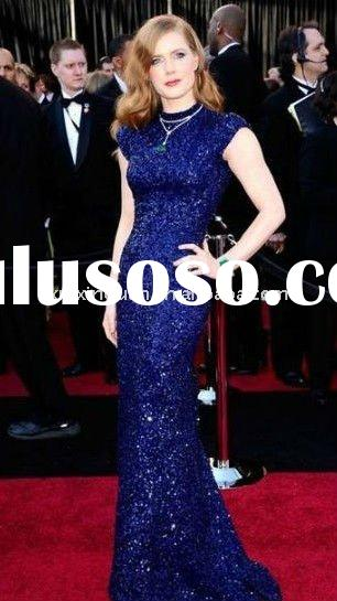 JJ057 uniqued high quality full sequined dark blue short sleeve celebrities dress red carpet dress e