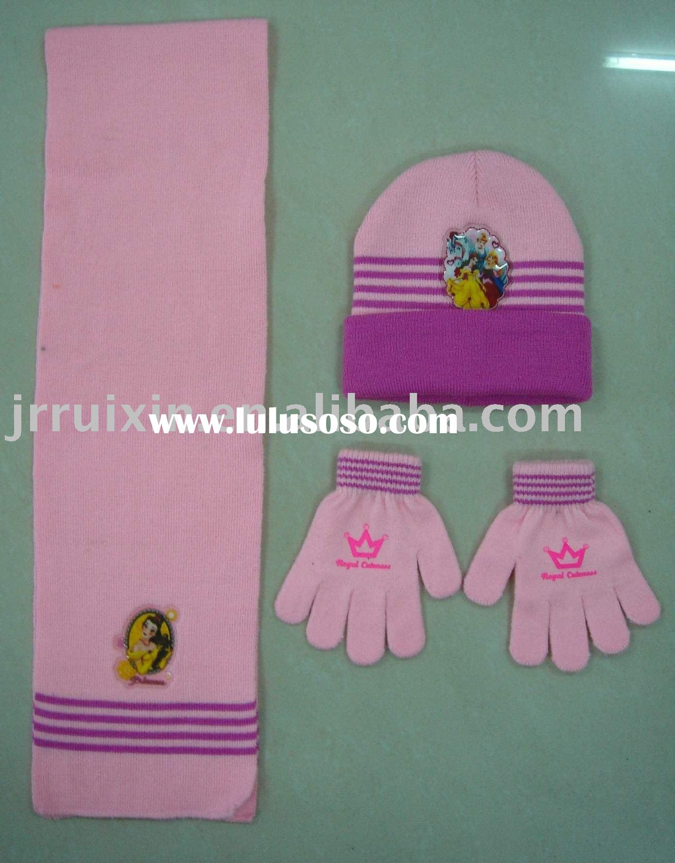 Knitted hat, scarf and gloves for kids