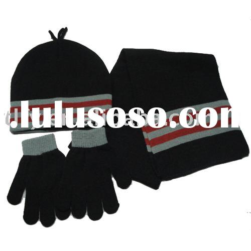 Knitted scarf hat gloves