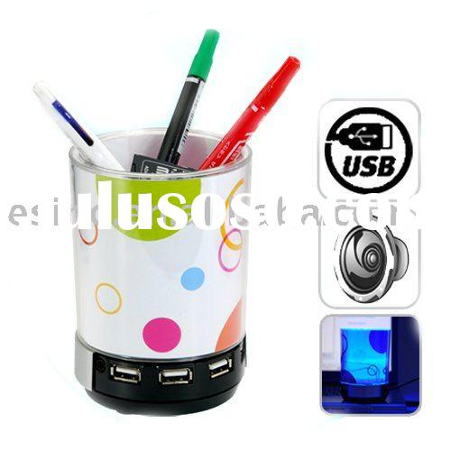 LED Pen holder with USB Hub,Speaker,Flash Light,Photo Frame