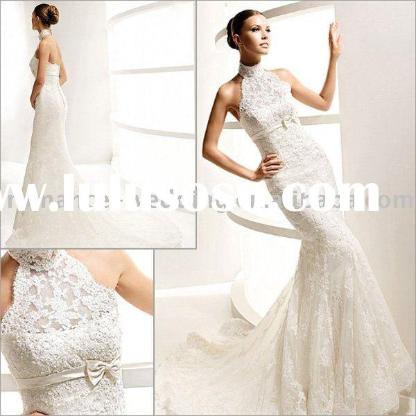 La0102 Charming Appliqued Mermaid High-neck Lace Wedding Dress