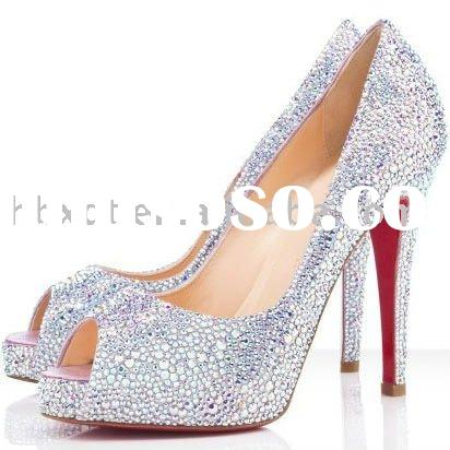 Ladies fashion sandal 2012 crystals high heel shoe