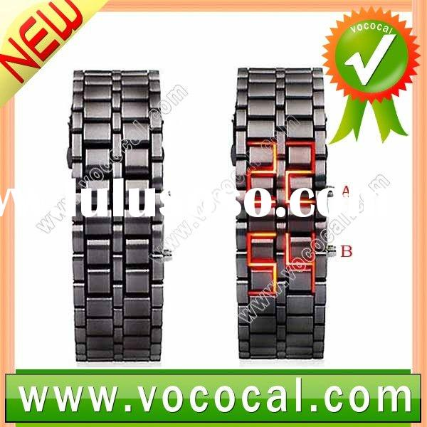 Lava Style Iron Samurai Metal Faceless Red LED Digital Watch