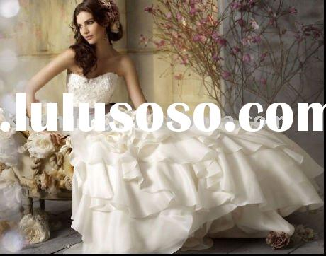 Leatest design strapless ribbons 2011 latest bridal wedding dress gown