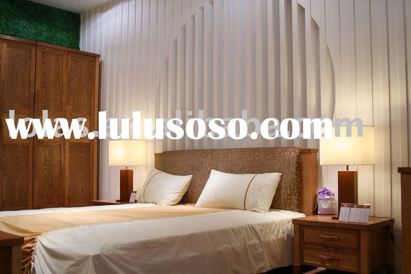 Lola's hot sale bedroom set with Ash Solid wood and Rattan together,soft headboard attached
