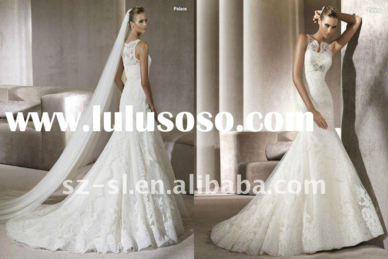 Luxurious high neck mermaid wedding gown lace 2012 SL-5014