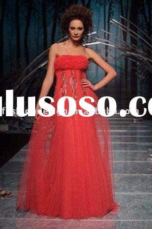 M117 2011 Unique fashion strapless tulle beaded lebanon evening dress