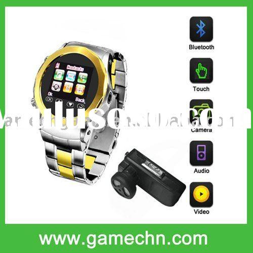 "MQ999 Quad Band unlocked 1.5""Touch Screen Stainless Steel Wrist Watch Cell Phone with camera FM"