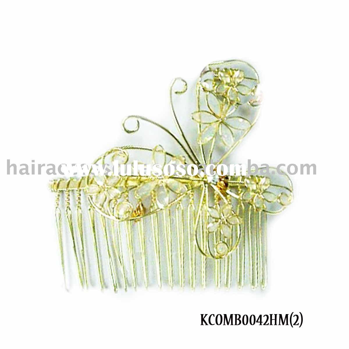 Metal Hair Comb/Hair Brush With Butterfly