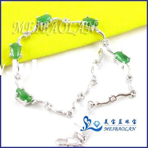 Natural Jade Jewelry,Silver Bracelet(l040637agf)