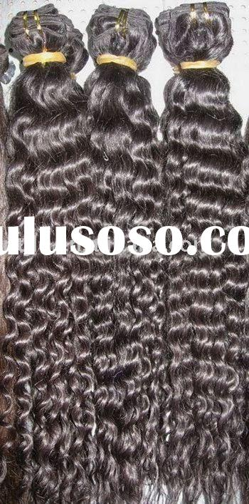 Natural color remy human hair weaving-Curly / Curly Weft hair