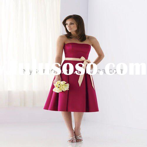 New Fashion Strapless Satin Tea-Length Gorgeous Bridesmaid Dresses