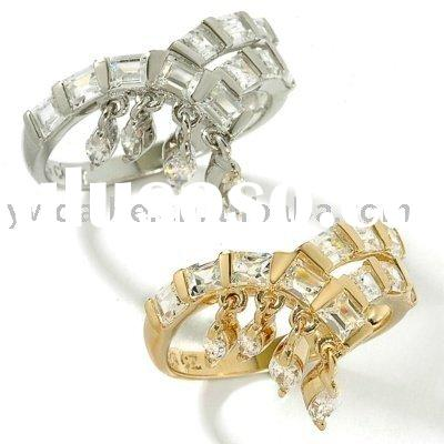 New Fashion Style Silver&Gold Plated Ring With Zircon Lover Ring jewelry
