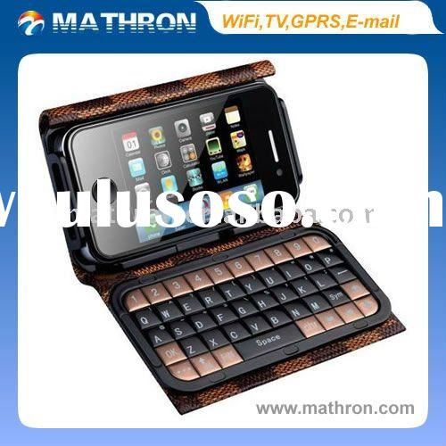 New Model Quad-Bands Mini Dual SIM WiFi TV Mobile Phone T8000 With Full Keyboard+Leather Case(black,